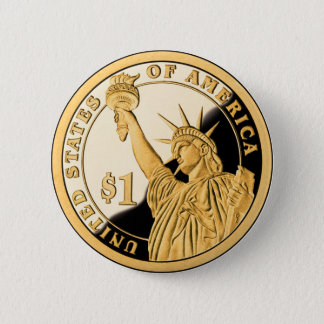 $1 Gold Coin Statue of Liberty 6 Cm Round Badge