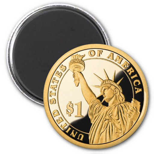 $1 Gold Coin Statue of Liberty Fridge Magnets