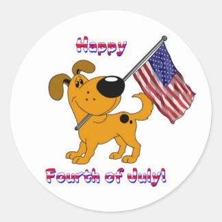 1- Happy Fourth of July! Round Sticker