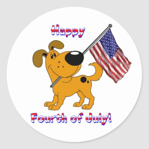 1- Happy Fourth of July! Round Stickers