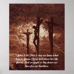 1 John 3:16 Jesus Christ on the Cross Poster