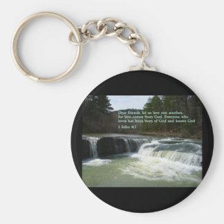 1 John 4:7  Waterfall Key Chain