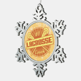 #1 Lacrosse Coach Christmas Tree Decoration Snowflake Pewter Christmas Ornament