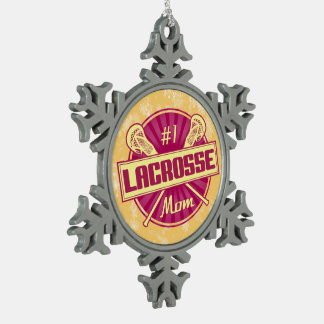 #1 Lacrosse Mom Christmas Xmas Tree Decoration Pewter Snowflake Decoration