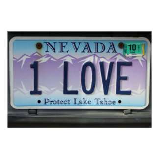 1 Love Nevada License Plate Poster
