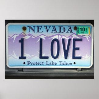 1 Love Nevada License Plate Poster