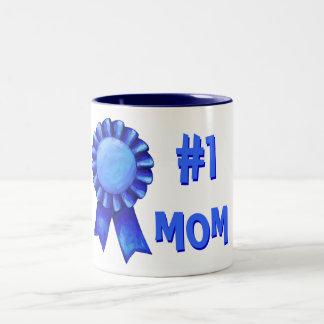 #1 Mom Blue Ribbon Mug