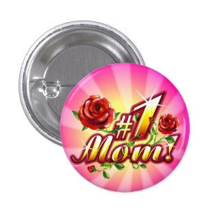 #1 Mom Flowers Sparkle Button