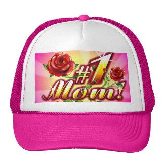 #1 Mom Flowers Sparkle Trucker Hat