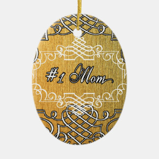 #1 mom Golden typography mother's day Christmas Ornament