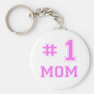 #1 Mom (Number One Mom) Basic Round Button Key Ring