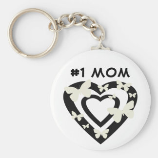 #1 Mom, open hearts, white butterflies Basic Round Button Key Ring