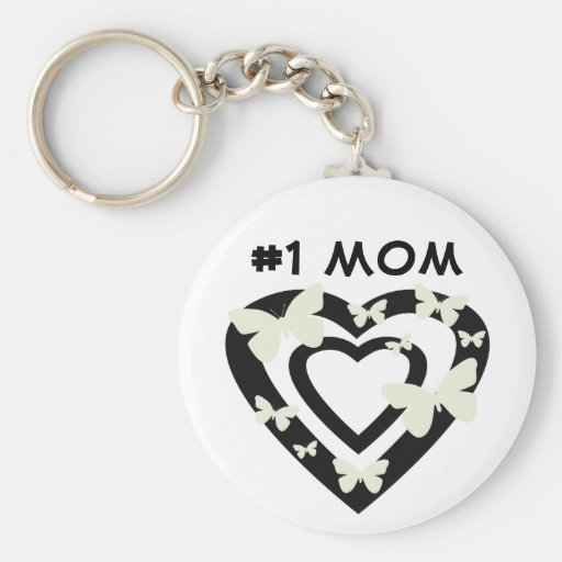 #1 Mom, open hearts, white butterflies Keychains