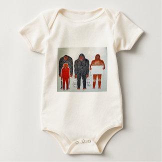 1 Neanderthal & 3 Big foot,on white,.JPG Baby Bodysuit