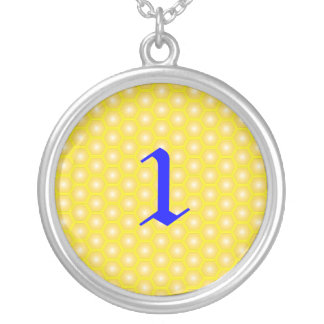 1,NUMBER, LETTER ON HONEYCOMB ROUND PENDANT NECKLACE