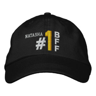 #1 Number One BEST FRIEND BFF BLACK Hat V02 Embroidered Baseball Caps