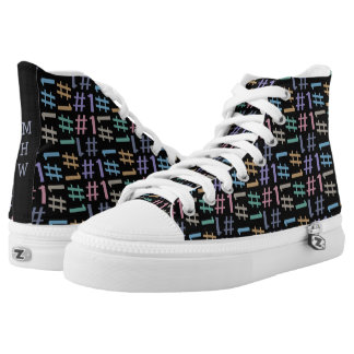 """# 1"" Pattern custom monogram high top shoes Printed Shoes"