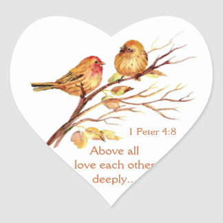 1 Peter 4:8 Love Each Other Deeply Scripture Birds Heart Sticker