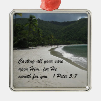 1 Peter 5:7 Casting all your care upon Him... Silver-Colored Square Decoration