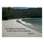 1 Peter 5:7 Give all your worries and cares to God Poster
