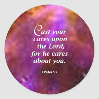 1 Peter 5:7 Round Sticker