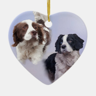 1 PRINT A4 Two dogs blue 19 x 13.jpg Ceramic Heart Decoration