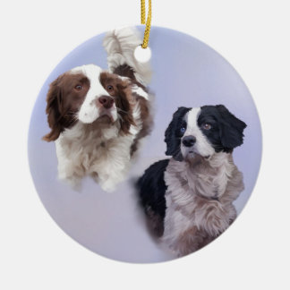 1 PRINT A4 Two dogs blue 19 x 13.jpg Christmas Ornament