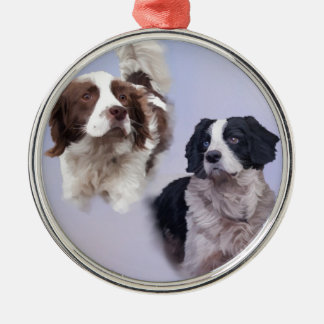 1 PRINT A4 Two dogs blue 19 x 13.jpg Silver-Colored Round Decoration
