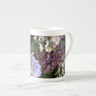 1 Purple Lavender Blue Hydrangeas Bone China Mug