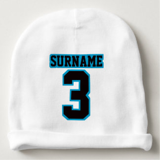 1 Side Beanie WHITE BLACK BLUE Football Jersey Baby Beanie