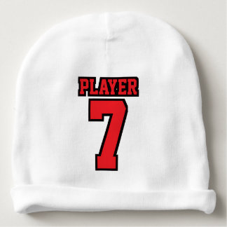 1 Side Beanie WHITE RED BLACK Football Jersey Baby Beanie