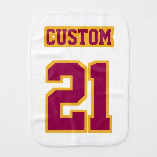 1 Side Burp Cloth WHITE BURGUNDY GOLD Football