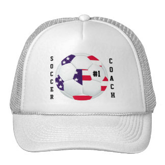 #1 Soccer Coach American Flag Themed Soccer Ball Trucker Hat