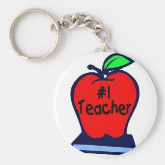 #1 Teacher (Apple/Books) Basic Round Button Key Ring