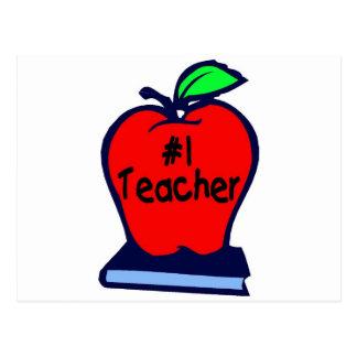 #1 Teacher (Apple/Books) Postcard
