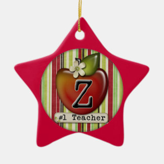 #1 teacher apple initial letter Z Christmas Ornament