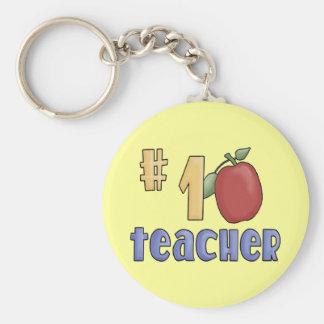 #1 Teacher Basic Round Button Key Ring