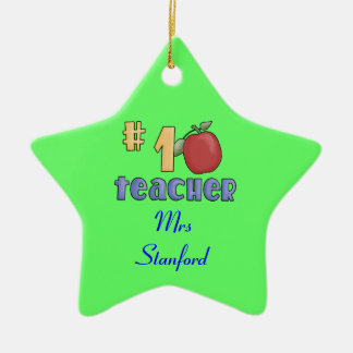#1 Teacher Ceramic Star Decoration