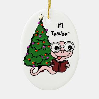 #1 Teacher Christmas Bookworm Ornament