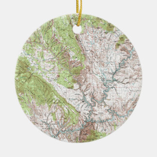 1 x 2 Degree Topographic Map Christmas Ornament