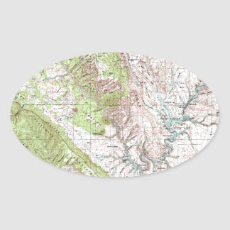 1 x 2 Degree Topographic Map Oval Sticker