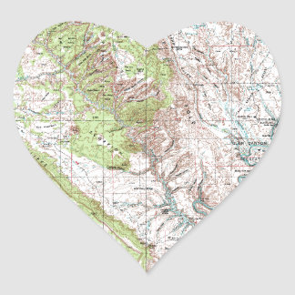 1 x 2 Degree Topographic Map Heart Sticker