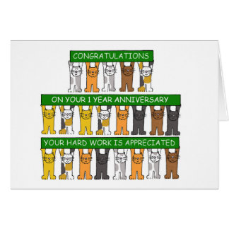 1 year anniversary for employee. greeting card