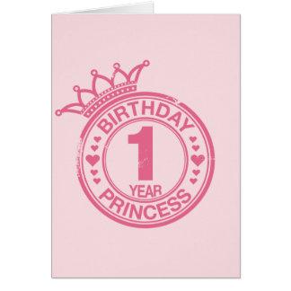 1 year - Birthday Princess - pink Greeting Card