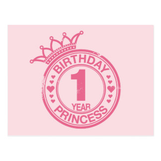 1 year - Birthday Princess - pink Postcard