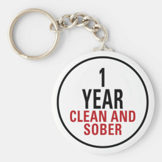 1 Year Clean and Sober Basic Round Button Key Ring