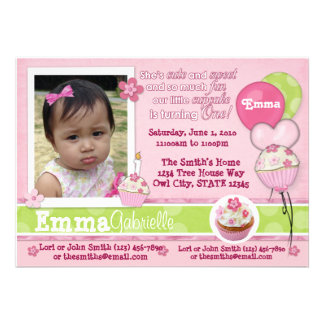 1 year Cupcake Pink Invitation ADORABLE photo