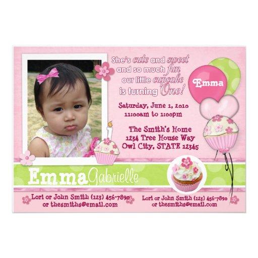 1 year Cupcake Pink Invitation ADORABLE (photo)
