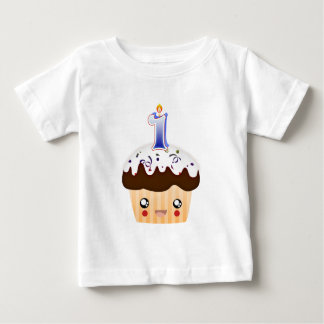 1 Year Cupcake T - Blue Baby T-Shirt