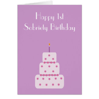 1 year milestone sobriety birthday cake card